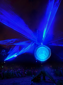 Laser beams, kinetic sculpture, lights and sound installation