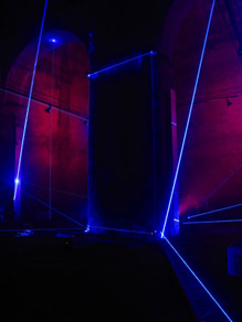 Laser beams, light and sound installation.